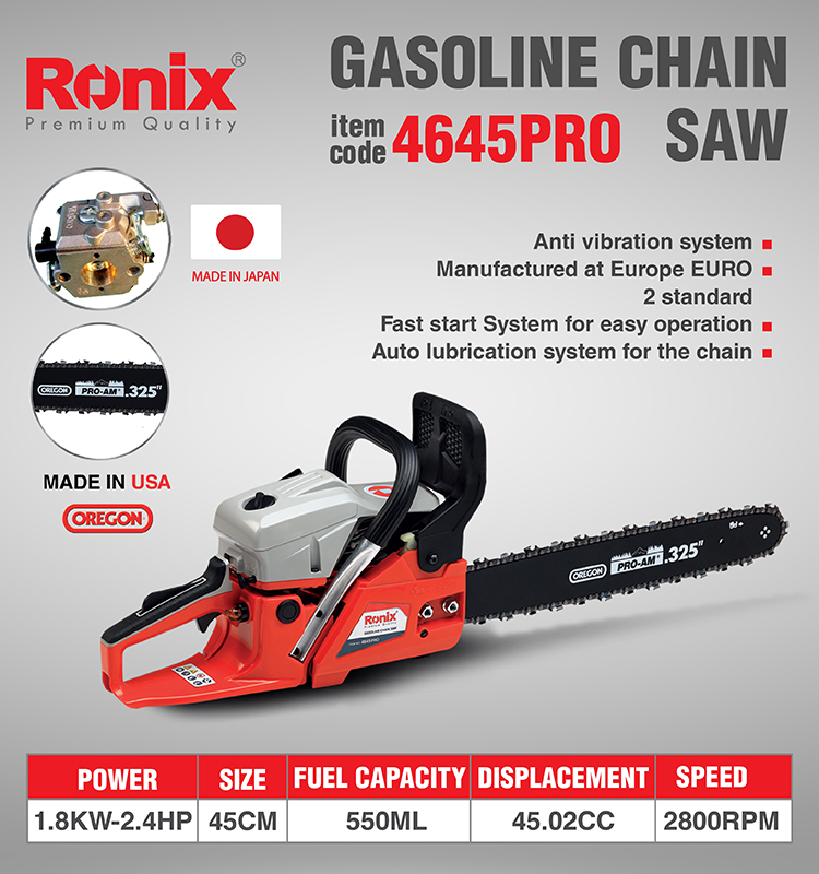 Ronix In Stock Gasoline Chainsaw 1800W 3200rpm Engine Type 45cc Model 4645pro