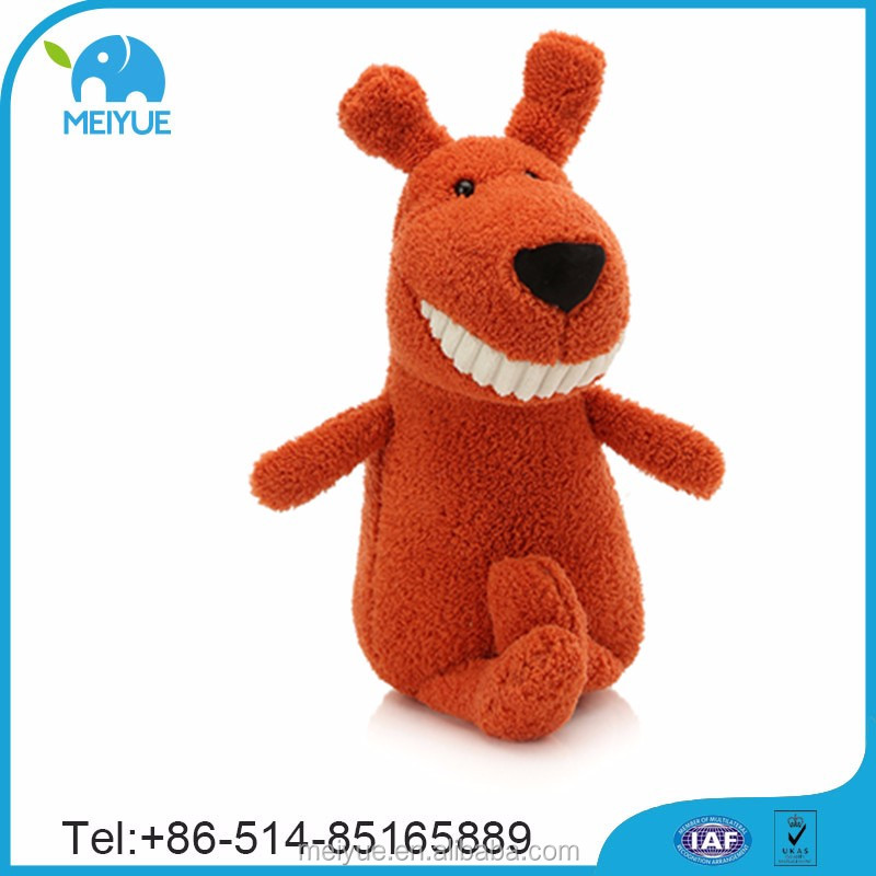 Gift PP Cotton Stuffed Big Teeth Brown Soft Dog Plush Toys