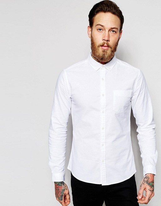 2016 Latest Design Long Sleeve Chest Pocket 98% Cotton 2% Elastane Soft Poplin Slim Fit Casual White Solid Mens Business Shirts