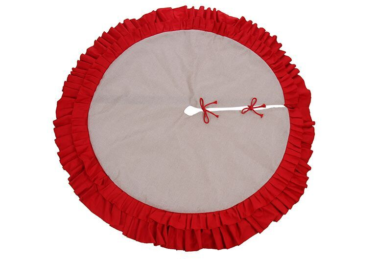 Christmas Burlap Red Ruffles Tree Skirt