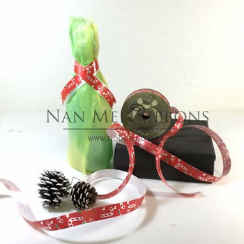 Big Christmas Stick Cane Printed Solid Plastic Ribbon