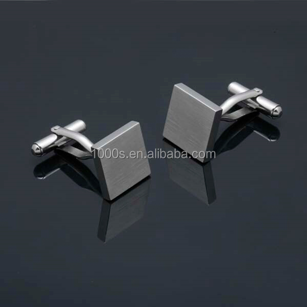 Stainless steel blank customize men jewelry for engraving logo, simple gentlemen design cufflink