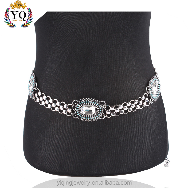 BEYQ-00001 sexy indian piercing jewelry crystal silver belly chains