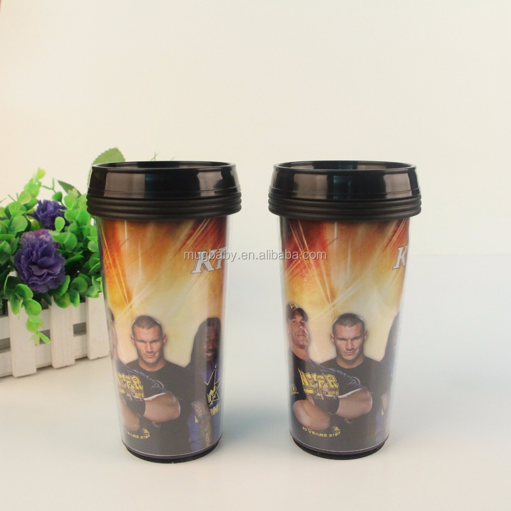 double wall advertising paper insert plastic tumbler