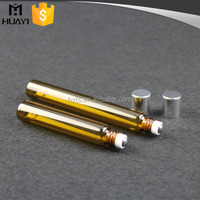 Wholesale amber glass roll on bottle with stainless steel roller ball