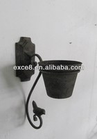 Vintage style metal wall mounted flower pots