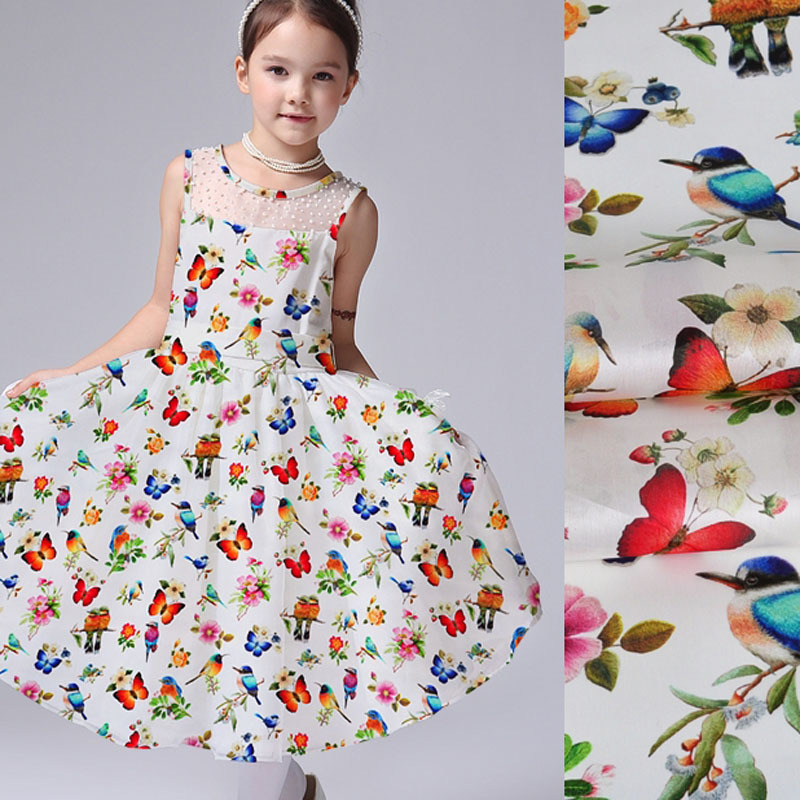 floral butterfly birds printing organza tulle fabric for wedding dress