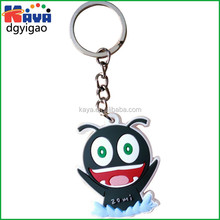 Plastic 3D mini cartoon keychain/ Cheap rubber cartoon key ring