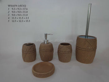 Factory directly ceramic wool hotel bath accessory set with brown glaze