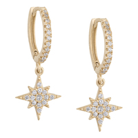 18k yellow gold 925 sterling silver starburst huggie cz micro pave earrings
