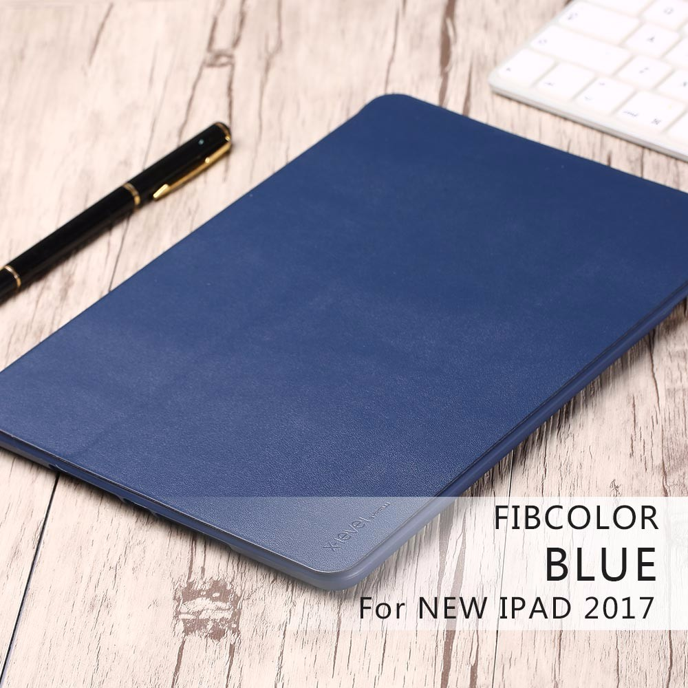 [X-Level] Newest Luxury Leather Flip Cover Case for 9.7 Inch New iPad 2017 with Fold Stand