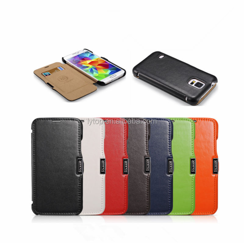 For samsung galaxy s5 genuine leather case cover, mobile covers for samsung s5 i9600 flip real leather case