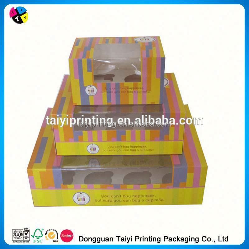 2014 printed cupcake boxes wholesale china sale
