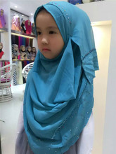 Fashion Rhinestone Chiffon Ready To Wear Scarf Islamic Muslim Instant Tudung Hijab For Children
