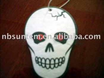 Car Air Freshener With A Horror Skull Image