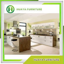 High Glossy White PVC MDF/plywood Kitchen Cabinet with HPL Countertop and Bar
