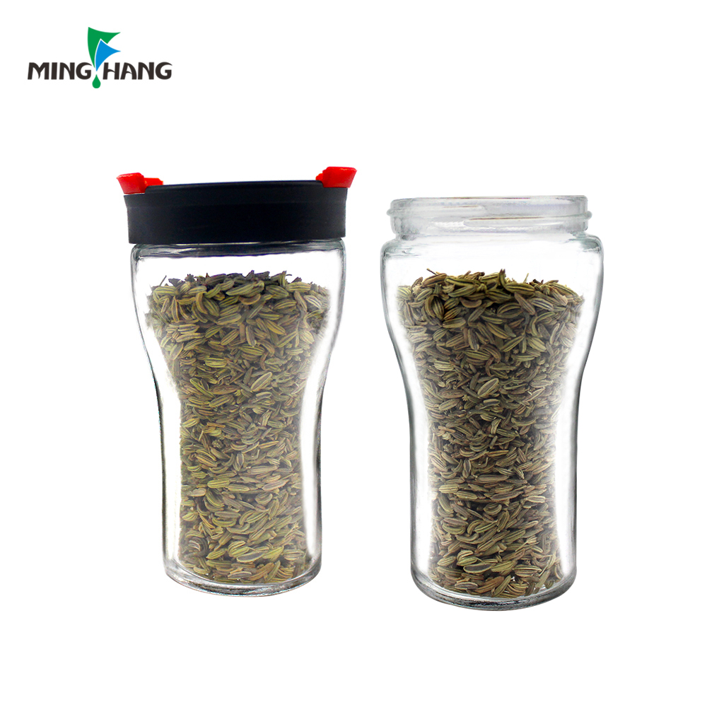 recycled unique shape glass spice packaging jar kitchen salt pepper container