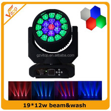 Professional TV Studio Lighting 19*12w RGBW Quad Color Led Wash Moving Head Light Sharpy Beam
