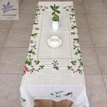Rectangular polyester hand embroidery designs floral white hemstitch tablecloth wedding home banquet party table cloth 54X72