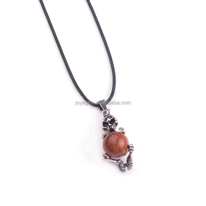 Unique Natural Goldstone Skull Pendant for Necklace Jewelry Making Wholesale