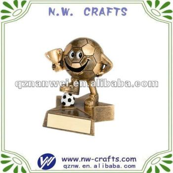 Cute soccer doll trophy with star base