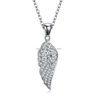 new arrival 925 sterling silver micro pave cubic zirconia angel wing pendant wholesale