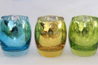 COLOR SPRAYING MERCURY GLASS CANDLE HOLDER,BULK GLASS VOTIVE CANDLE HOLDERS