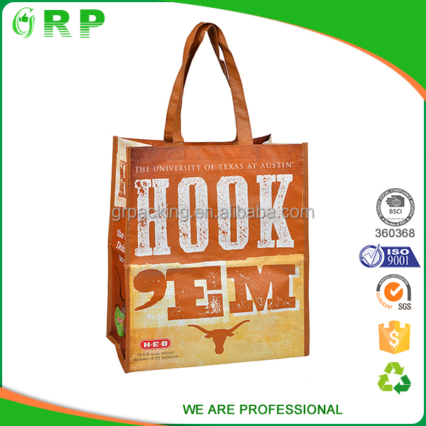 Water resistant fashion style handled pp laminated non woven bag