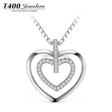 T400 Jewelry heart pendant necklace collar 925 sterling silver plata joyas corazon collar 10888