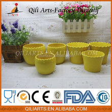 New Arrival Hot Sale Sample Design yellow ceramic square flower pot