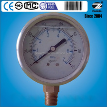 natural gas pressure meter of water pressure gauge oil filled stainless steel case brass connection