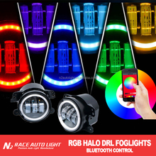 New RGB Car headlights led lamp, Yellow, Red, Blue, Green RGB color LED headlights for cars, 90W Bluetooth control Headlight