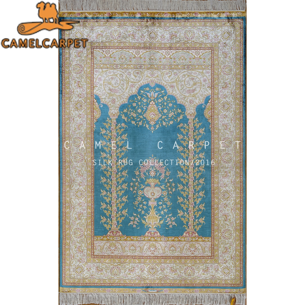 blue area rug persian silk arabic hand knotted prayer rugs