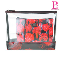 Avant-garde Transparent Evening Clutch Bag Set PVC Digital print Rose Bag