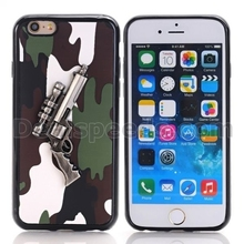 Camouflage Handgun for iPhone 6 3D Case Leather Coated TPU Cases for iPhone 6 / iPhone 6S - Green Camouflage