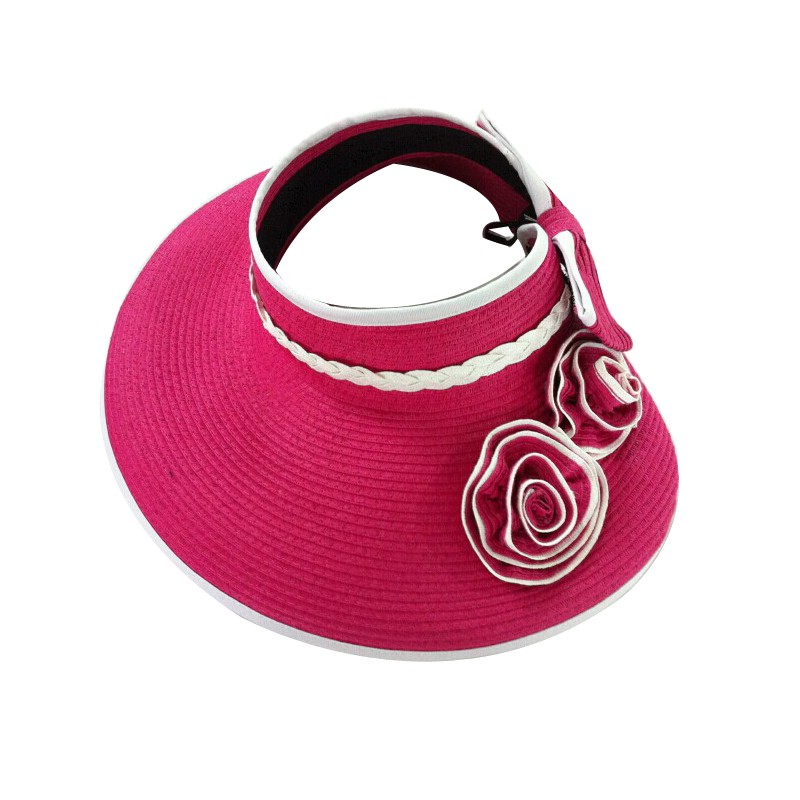 Ladies foldable large brim paper straw summer sun visor