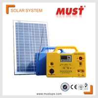 MUST 20W portable small mini rechargeable led home lighting solar power system for small house indoor solar