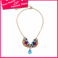 Newest handmade hip hop jewelry wholesale long gold chain design multi layer colorful plastic bead necklace in cheap price