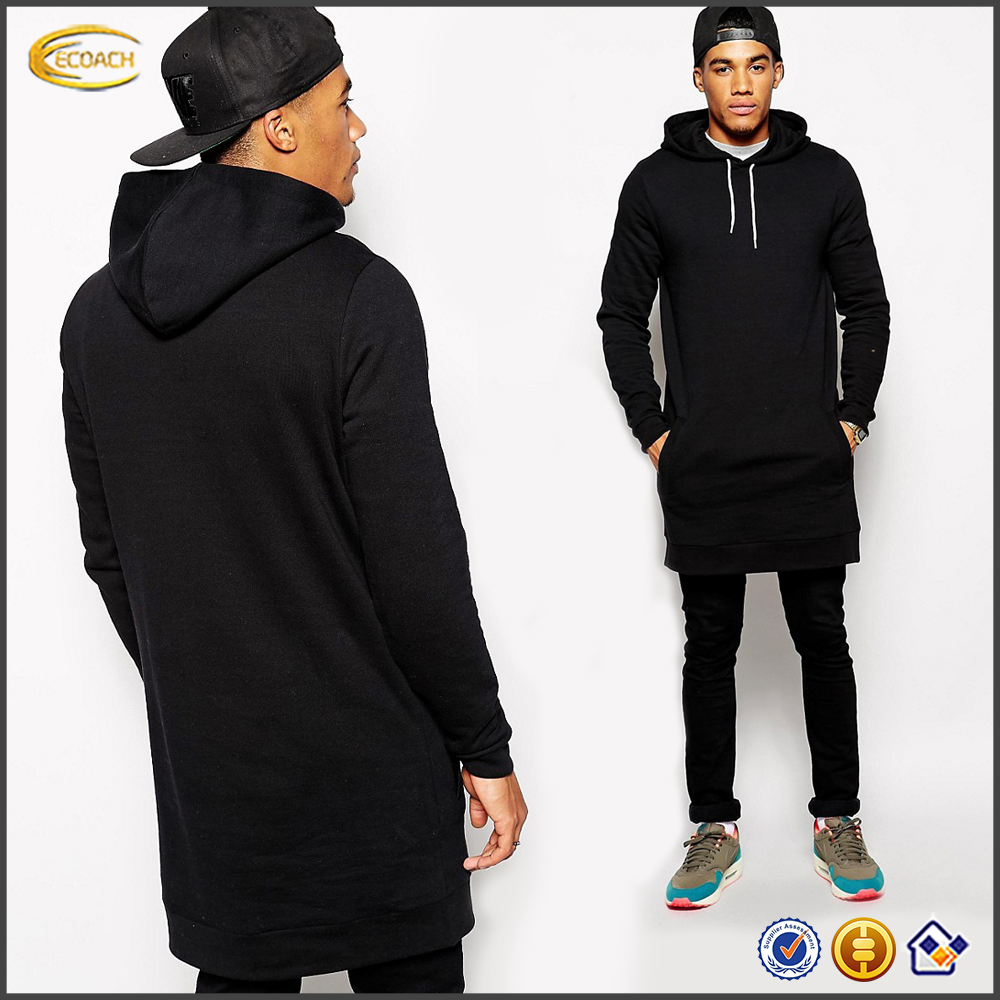 Ecoach high quality black 100%cotton Fixed hood blank custom mens longline wholesale blank pullover hoodies
