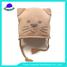 Cheap high quality winter girl lovely cat ponytail beanie hat adult animal knitted hat wholesale