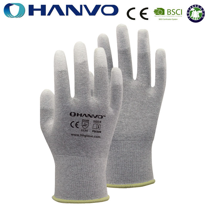HANVO Brand Grey Nylon-Carbon Knitted Glove Anti Static Half Finger Glove