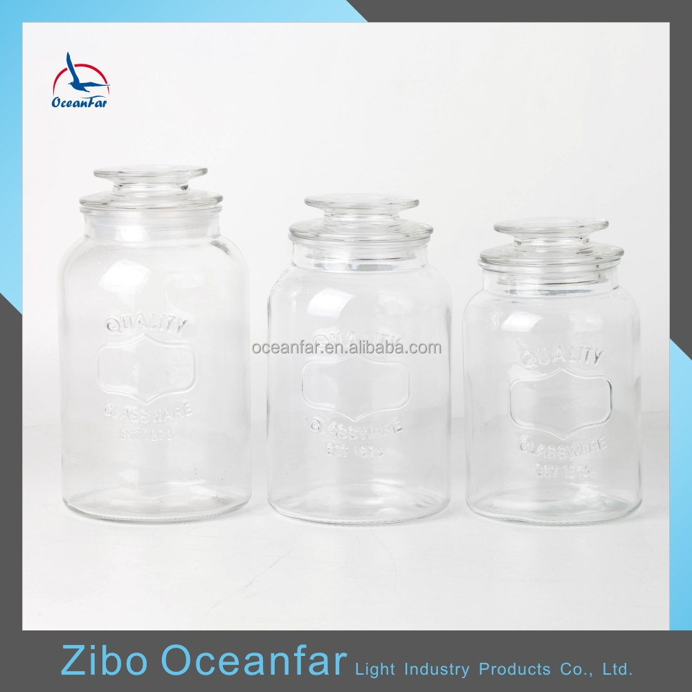 Best Selling Home Goods Morden Glass Jars Clear Embossed Glass Candy Jars Wholesale