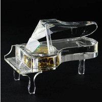High quality& hot sale Crystal Piano Shape Music Box Wedding Favors