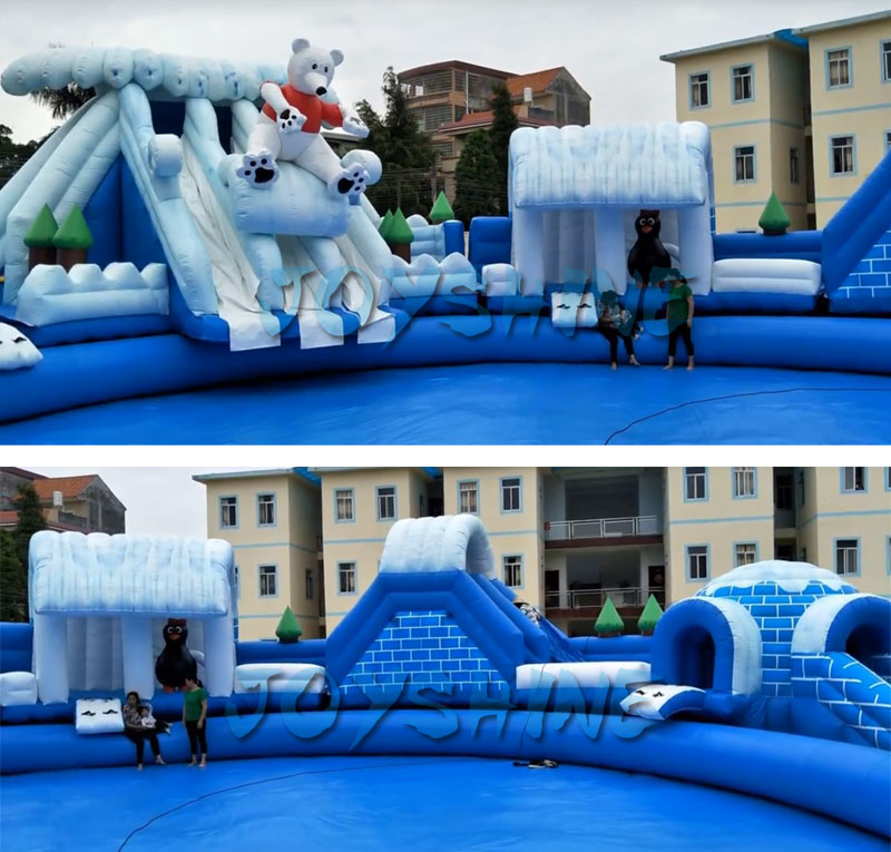 Blow Up Inflatable Commercial Water Games Obstacle Park Slides Playground Equipment Mobile Swimming Pool And Slide
