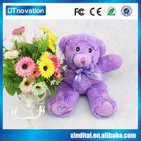 Hot-sale super soft material made stuffed plush soft toy lavender bear with sound recognition