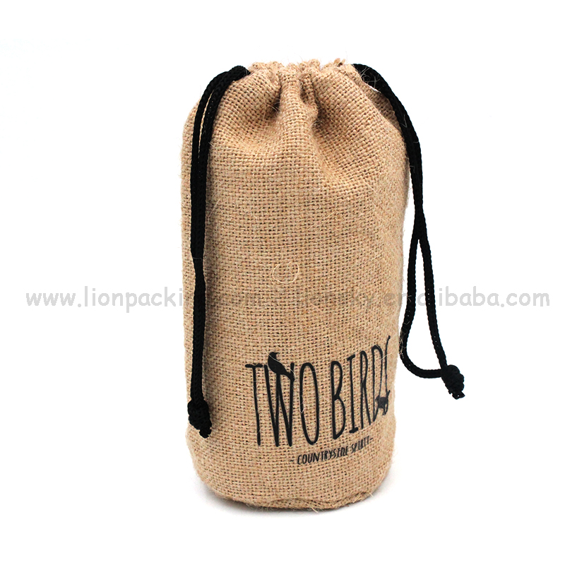Plain recycling drawstring coffee jute burlap grocery bag