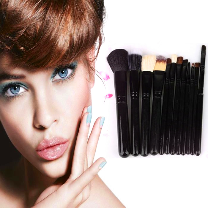 Eyeshadow Powder Cosmetic 12Pcs Hair Professional Brushes Makeup For Private Label