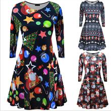L3002A Women Crewneck Reindeer Santa Claus Snow Man Patterned Long Sleeve Christmas Dress