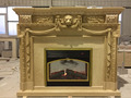 Beige marble indoor freestanding fireplace