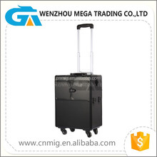 Black Color High Quality Aluminum Professional Beauty Hard Makeup Trolley Case